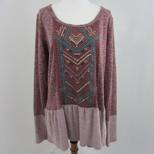 Maurices Purple Embroidered Long Sleeve Top *B3